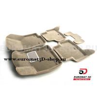 Текстильные 3D коврики Euromat3D Lux в салон для Skoda Octavia A7 (2013-2020) № EM3D-004507T Бежевые