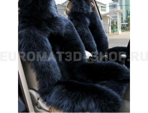 Меховая накидка из натуральной овчины Euromat|Tex (цельная комбинированная) черная № EUSH-005000